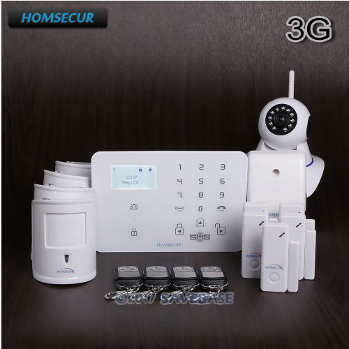 HOMSECUR Wireless&wired WCDMA/GSM Burglar Intruder Alarm System With Two-way SOS Talking for Emergency Help Function+IP Camera mini gsm gps tracker for kids elderly personal sos button track with two way communication free platform app alarm