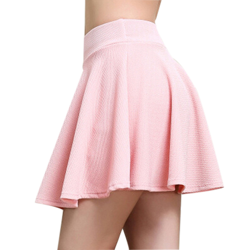Summer Solid Color Pleated Skirt Sexy Mini Short Skirts High Waist Elastic Ladies Skirts Girls Tutu School Faldas Ball Gown