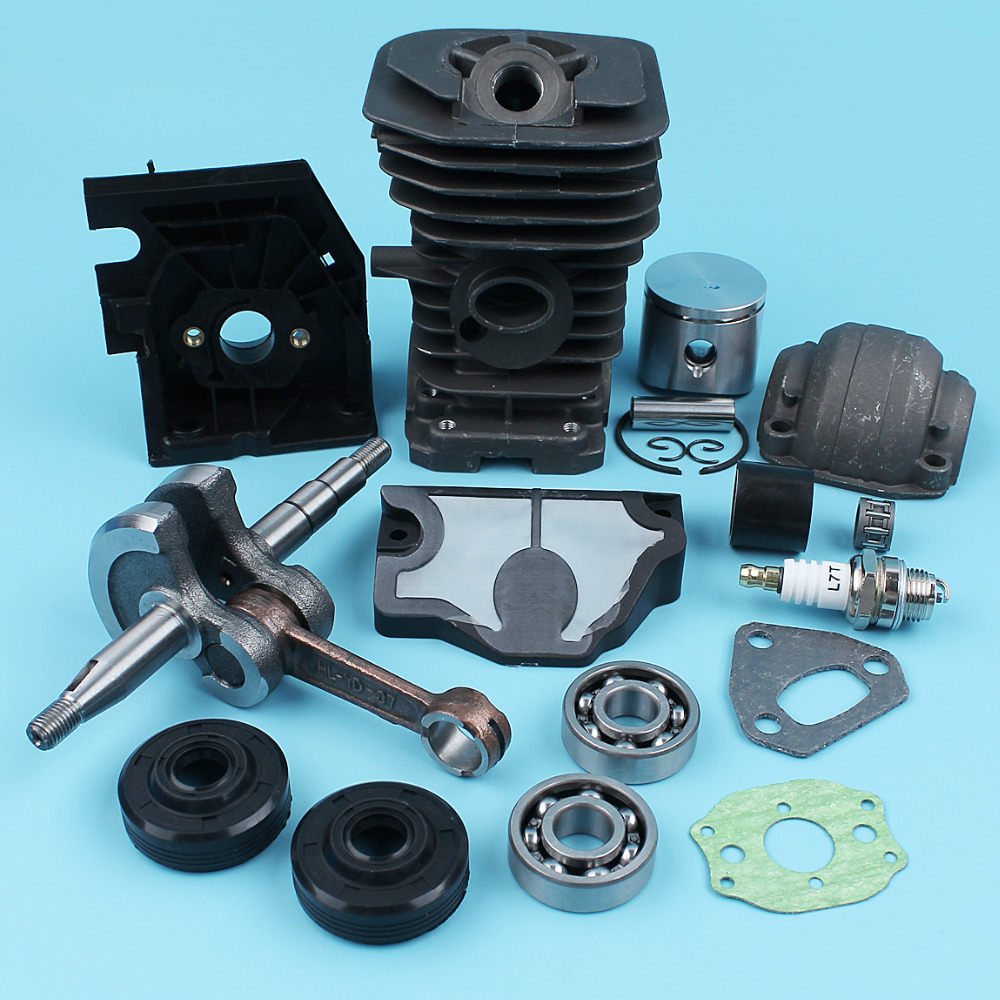 Cylinder (38mm) Piston Crankshaft Pan Bearing Kit For Husqvarna 136 137 141 142 Chainsaw Air Filter Oil Seals Carburetor Bracket