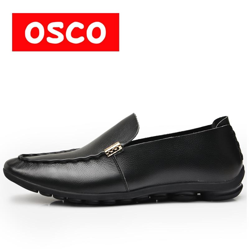 OSCO ALL SEASON New Men cow leather Shoes Fashion Men slip on Casual loafers and driver Shoes #RUA3520 пена монтажная mastertex all season 750 pro всесезонная