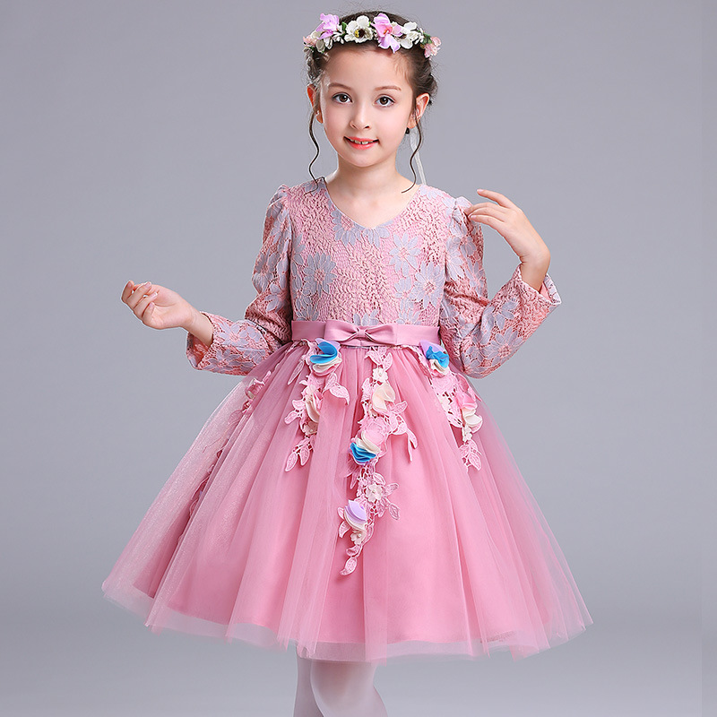 New Autumn Long Sleeves High-end Princess Flower Party Girls Dresses Kids Baby Floral Elegant Christmas Dress 5 6 7 8 9 10 Years