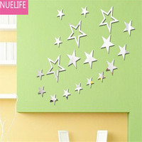 19pcs Five pointed star pattern acrylic mirror wall stickers Children's bedroom bedroom living room ceiling mirror stickers