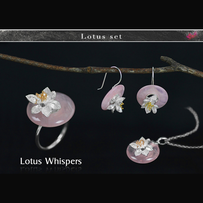 e7d2cb679e2b Lotus Fun реальные 925 серебро ручной работы Ювелирные украшения лотоса  шепчет комплект ювелирных изделий с кольцом