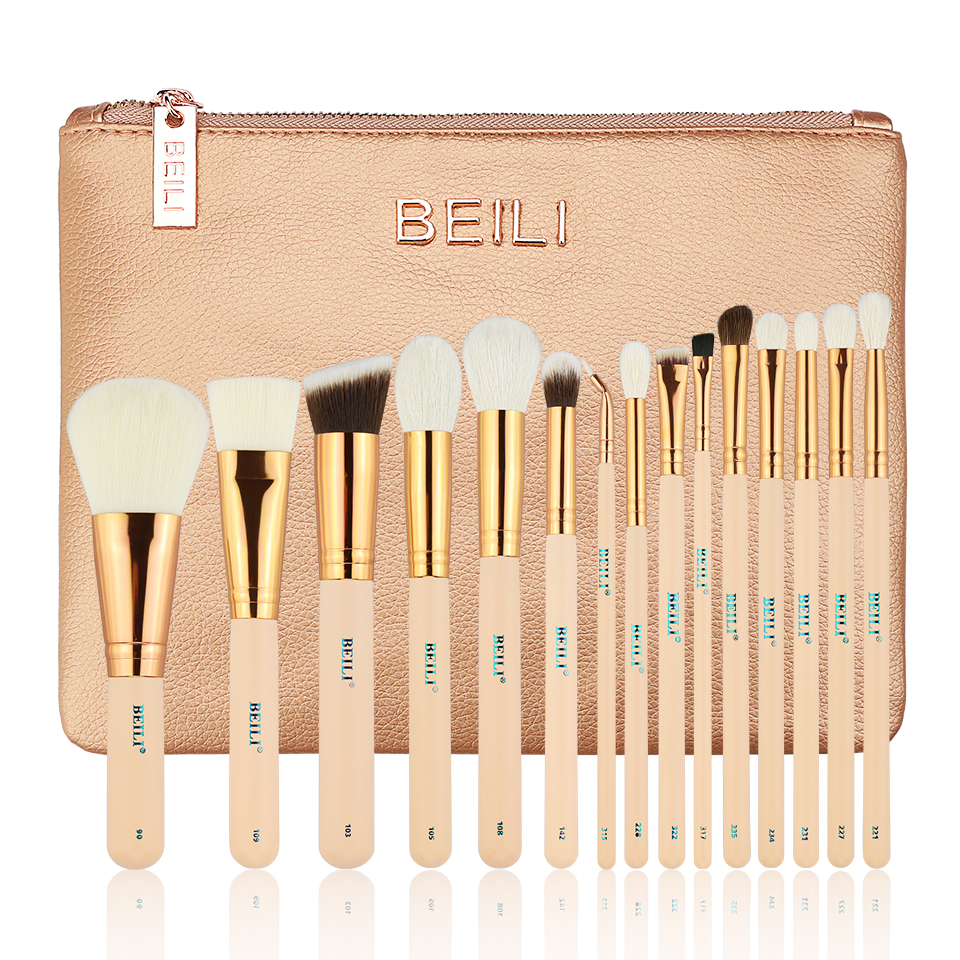 BEILI 15PIECES Pink natural goat hair Synthetic Horse Hair Foundation blusher eye shadow Powder Eyeliner Makeup brush set professional makeup brush kits wood synthetic hair powder foundation makeup eye shadow brush tools 12 pcs set fashion maquiagem