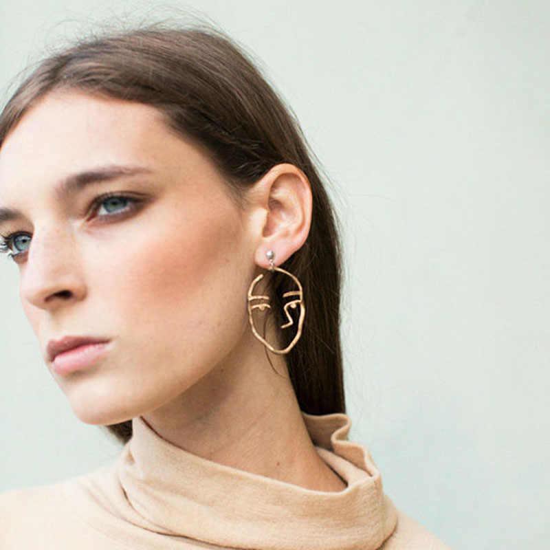 Vintage Gold Silver Filled Open House Sister Earrings Statement Earrings For Women Bijoux 2018 Brincos Jewelry Face Earrings