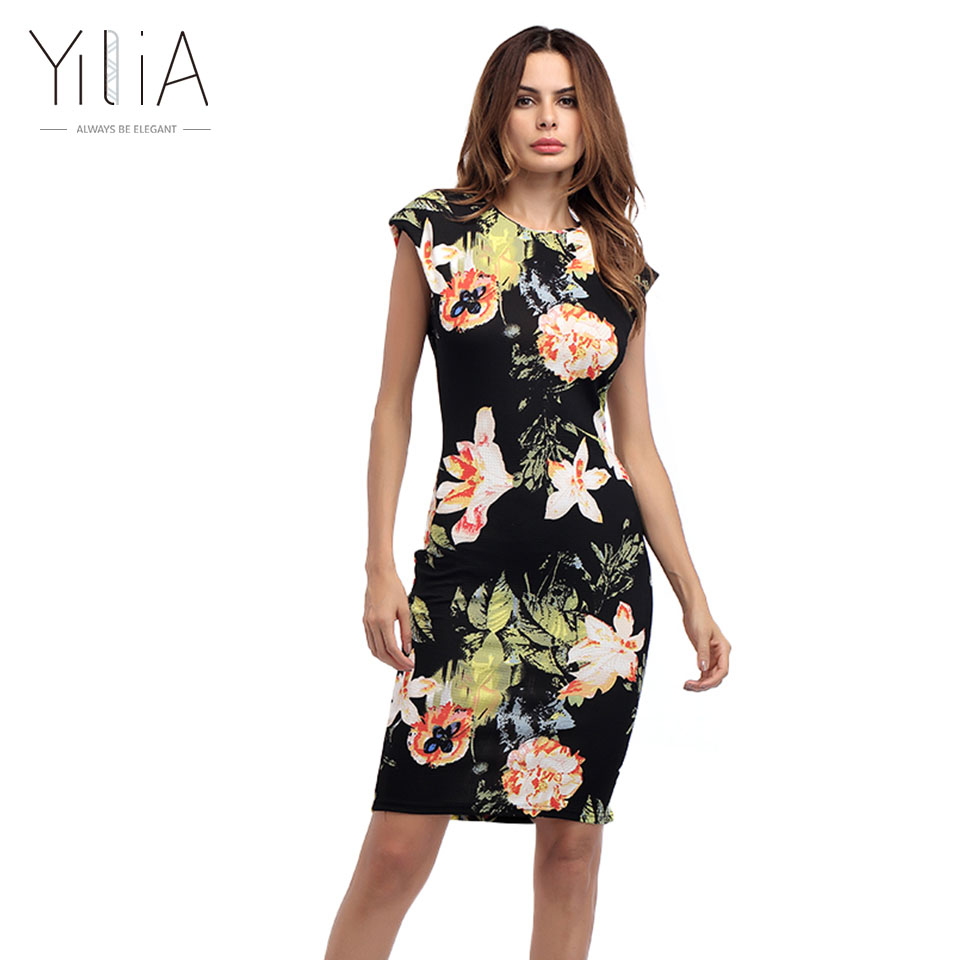 73259773a971 ... Fashion Print Midi Pencil Floral Summer Dresses: Yilia Plus Size Women  Vintage Vestidos Dress Sleeveless