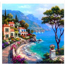 Diamond Painting  Embroidery Beautiful Beach Town Mosaic Complete Trees Cross Stitch L088