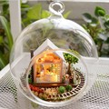 Magic House wood model DIY glass ball wooden doll house miniature dollhouse with lights free shipping