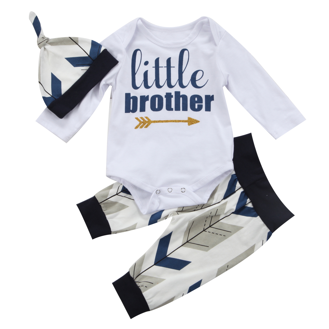 Adorable Newborn Baby Boys Clothes Sets Infant Little Brother Romper Tops + Long Pants Hats Outfits