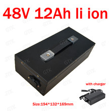 GTK 48v 12ah lithium ion battery pack 18650 BMS 13S li ion battery for 750W 500W electric bike scooter + 2A charger(China)