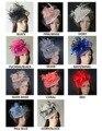 НОВЫЙ 12 цветов, Sinamay чародей шляпа с перьями и скрывая для Кентукки Дерби свадьбы races. FREE СУДОХОДСТВА