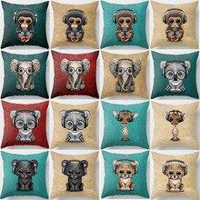 Hot sale beauty cartoon  animal pillow case men women ladies square cases cute monkey cover 45*45cm