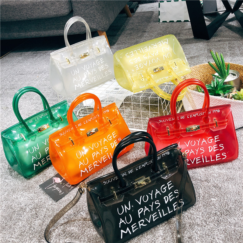 buy cheap Clear Transparent PVC Candy Color Jelly Crossbody Handbag