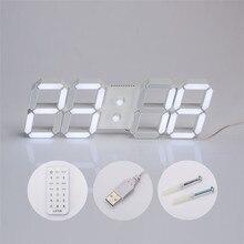 Cero USB 3D Moderno Temporizador 24/12 Horas Display Digital LED Reloj de Pared En Casa 170220