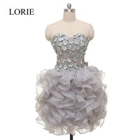 Sweetheart Grey Organza Prom Short Dresses For Teens 2017 Vestido Formatura Curto Flowers Beaded Homecoming Cocktail