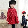 Inverno Quente Meninas Vestido de Manga Longa Crianças Roupas Causal Estrelas Impresso Vestido Da Menina do Algodão Do Bebê Meninas Roupa Dos Miúdos Do Bebê Vestido