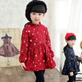 Winter Warm Girls Dress Long Sleeve Children Clothing Causal Stars Printed Girl Cotton Dress Baby Girls Clothes Kids Baby Dress