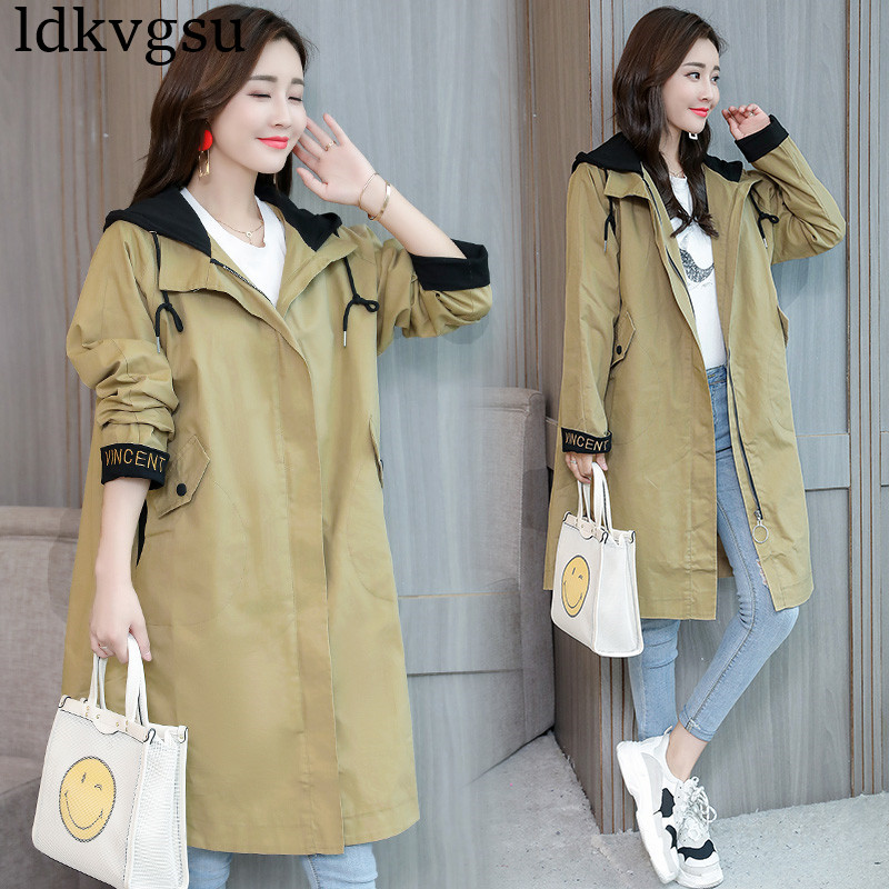2019 New Fashion Hooded   Trench   Coats Women Long section Korean Spring Autumn Loose Large Size Casual Windbreaker Outerwear V464