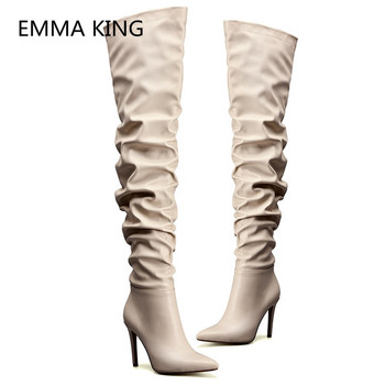 2019 New Women Spring Over The Knee Boots Pointed Toe Sexy High Heels Ladies Autumn Pleated Shoes Woman Runway Thigh High Boots