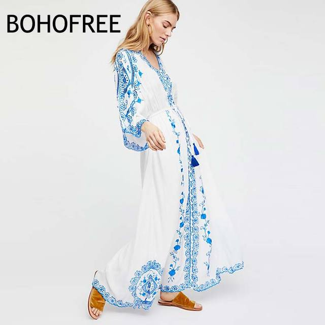 fd53de24b7 BOHOFREE Bule And White Porcelain Floral Embroidery Long Gown Kimono V Neck  Cleo Duster Maxi Dress Bohemian Gypsy Vestidos Women