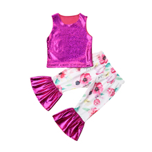 Casual Toddler Kids Baby Girl Outfit Floral Clothes Tank T-shirt Top+Long Pants Girl Set Kids Clothing Sets Children Clothes Set цена 2017