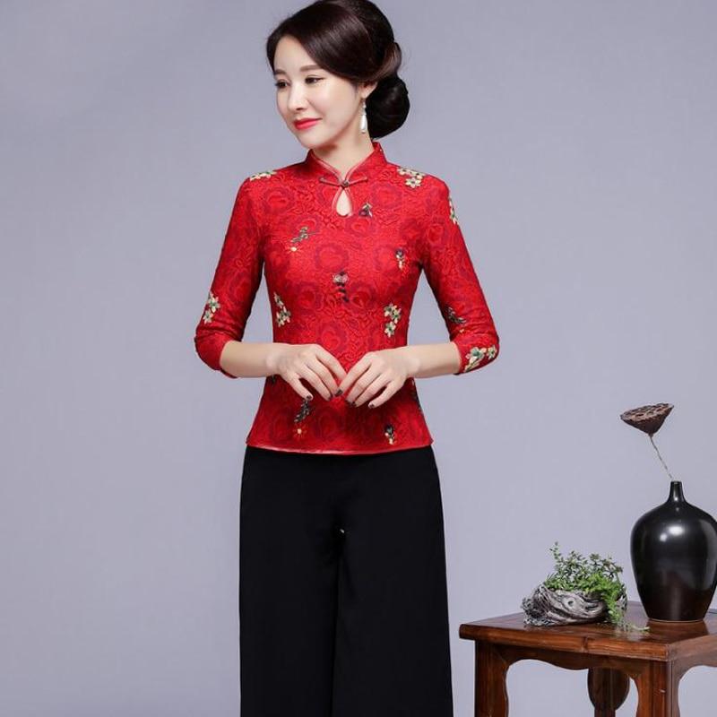 Surdimensionné 4XL chinois femmes broderie fleur haut Sexy dentelle mandarine col chemises Blouse nouveauté Vintage demi manches hauts