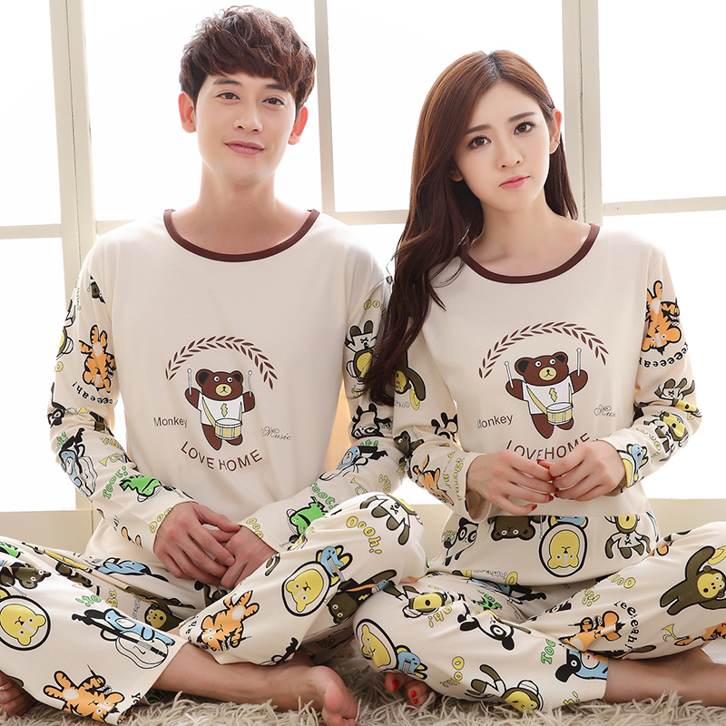 Factory Price Couple Pajamas Set Women Pijama Full Sleeve Men Pyjama Cotton O-Neck Sleepwear Casual Cute Cartoon Nightwear