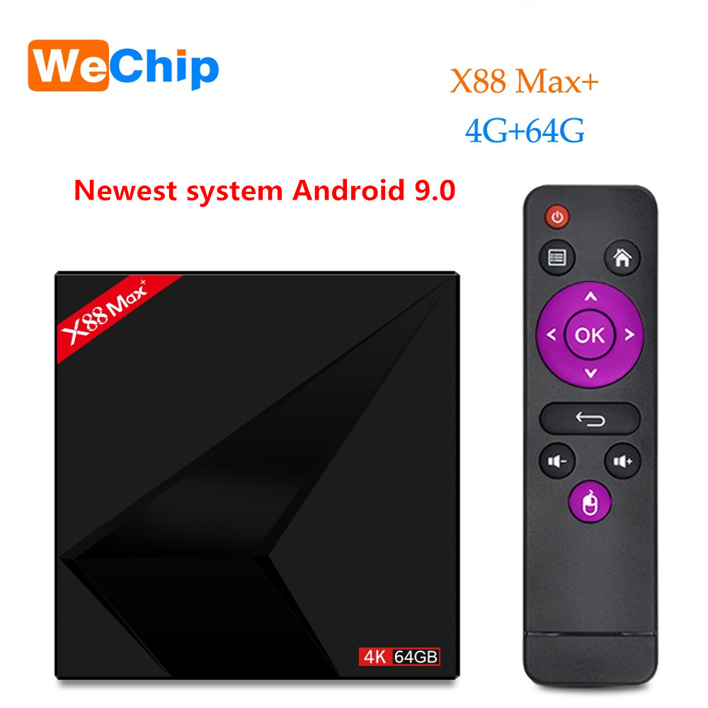 Wechip X88 Max plus TV box Android 9.0 4 GB 64 GB RK3328 Penta-Core 2,4G/5G dual Wifi BT V4.0 4 K HD hinzufügen Typ-c USB Media Player