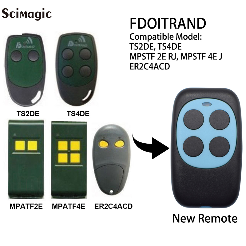 Fdoitrand Compatible Remote Control 433MHz Hearty Doitrand Ts4de Ts2de Mpstf 2e Rj Mpstf 4e Rj Garage Door Opener Command