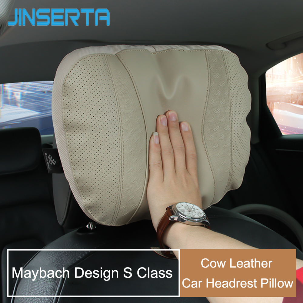 JINSERTA Maybach S Class Car Headrest Pillow For Head Leather Comfortable Soft Cushion Cover Adjustable Car Pillow For Universal