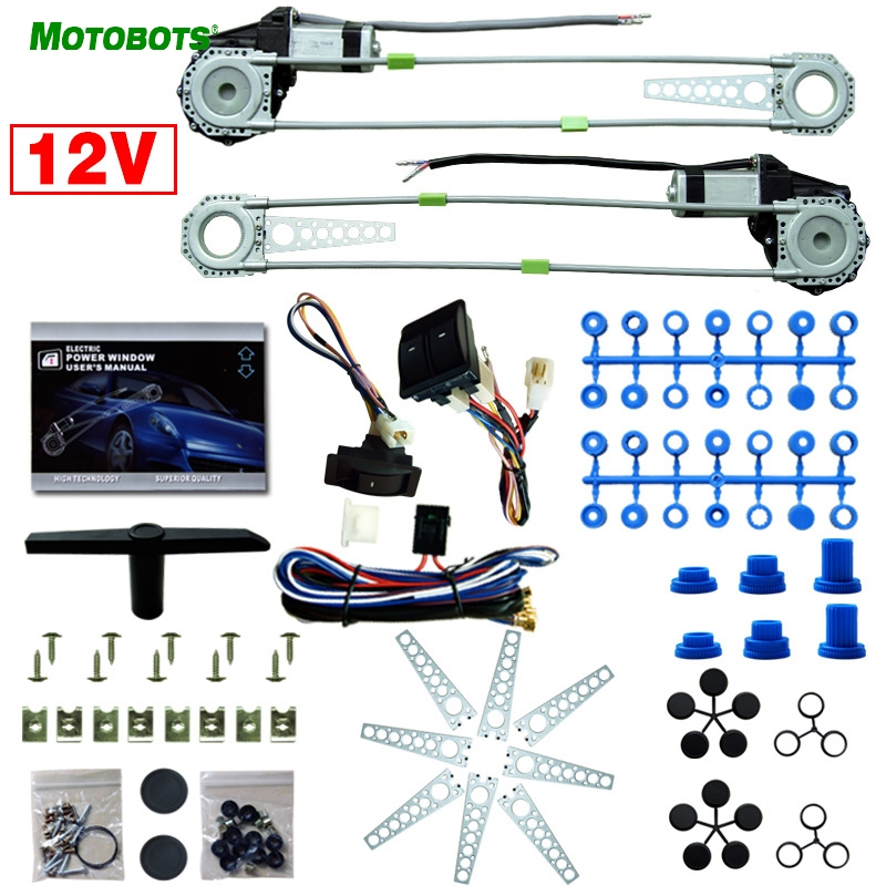 MOTOBOTS 1Set Universal Front 2-Doors Car Auto Electric Power Window Kits with Set Switches and Harness motobots universal 2 doors car auto electric power window kits with 3pcs set switches and harness dc12v ca4100