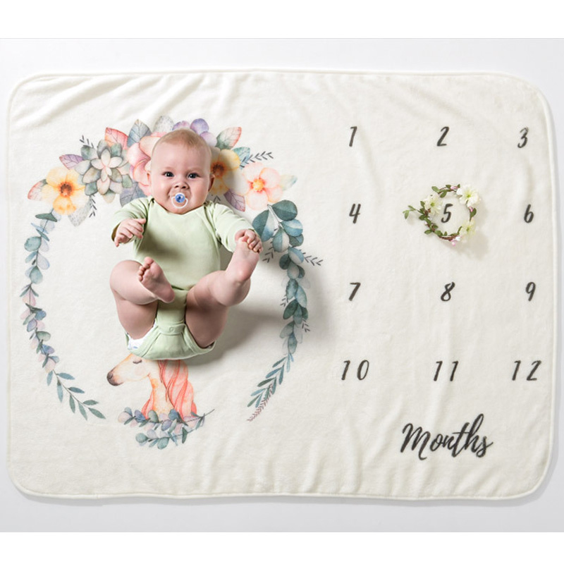 Baby Milestone Blankets Swaddle Wrap Bathing Towels Flower Printed Cute Soft Blanket DIY Infant Kids Newborn Photography Props
