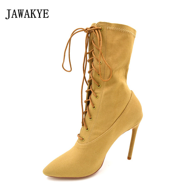f41f60c425a JAWAKYE Nude Runway denim jean Cut outs Lace up ankle boots women Stiletto  high heels pointed toe Spring fashion Women shoes