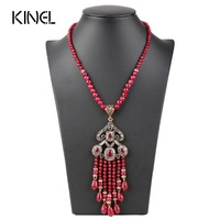Luxury Vintage Long Tassel Pendant Necklace For Women Antique Gold Color Turkish Red Crystal Sweater Indian
