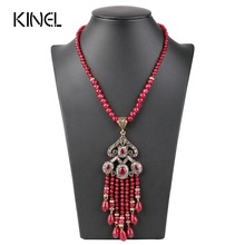 Luxury Vintage Long Tassel Pendant Necklace For Women Antique Gold Color Turkish Red Crystal Sweater Indian Bijoux