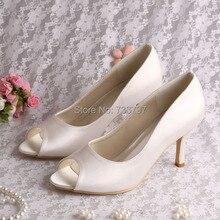 Wedopus Свадебная Обувь Женская Шарм Кот Атласная Высокие Каблуки Peep Toe Dropship