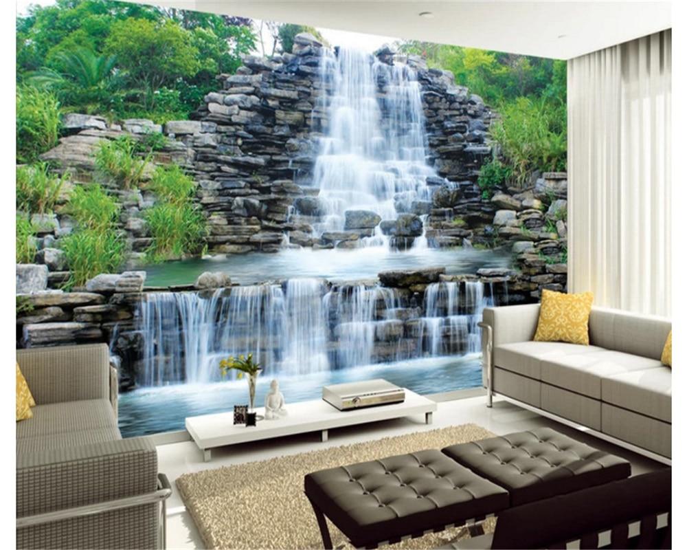 Beibehang soie photo fond d'écran HD magnifique cascade de rockery cascade art salon fond d'écran papier peint papel de parede