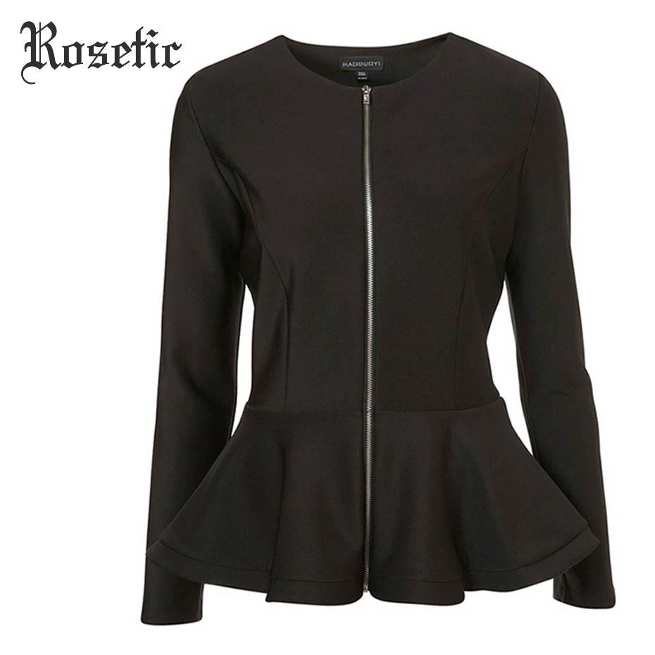 Rosetic Cusual Jackets Women Autumn Black Slim Long Sleeve Outwear Ruffle Falbala O-Neck Zipper Coats Tops Gothics Casual Jacket