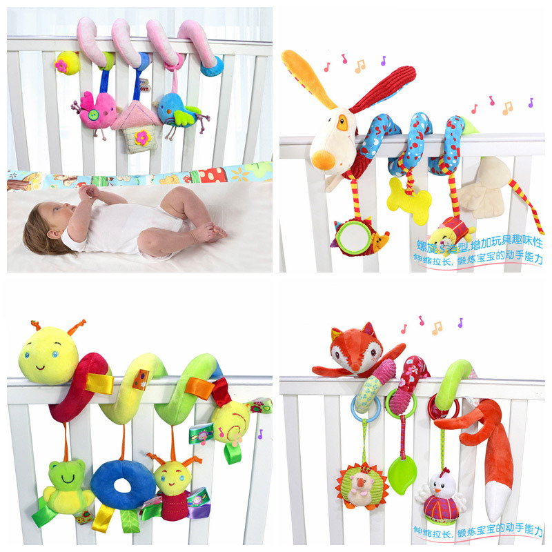 Baby Carriage Pram Bed Hang Toys Cartoon Animal Plush Toys Newborn Toys 0 12 Months Educational Toys For Children Infant Toys