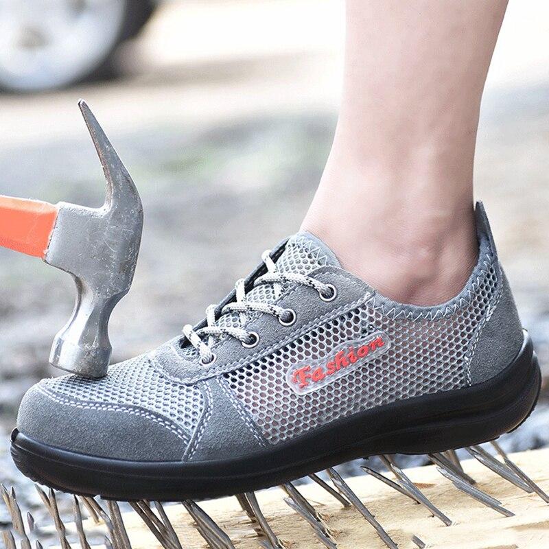 100% QualitäT Männer Sicherheit Schuhe Atmungsaktive Sommer Frauen Und Männer Shose Anti-smashing Anti-piercing Männer Netz Arbeit Schuhe Stahl Kappe Ms84