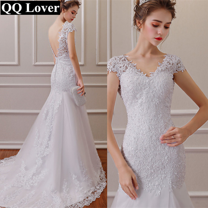QQ Lover 2019 Vestido de noiva White Backless Lace Mermaid Wedding Dresses V Neck Short Sleeve