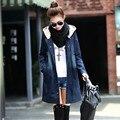 2016 Jaquetas Jeans Mulheres Casacos Básicos Primavera Outono Jaqueta Longa Com Capuz Denim Jacket Bomber Plus Size 4XL, Chaquetas Mujer C2355