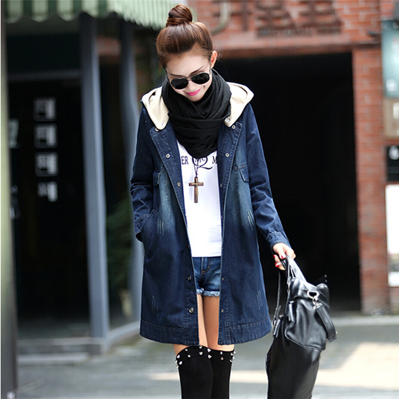 2018 Denim Jackets Women Basic Coats Spring Autumn Jacket Hooded Long Denim Jacket Plus Size 4XL,Chaquetas Mujer C2355