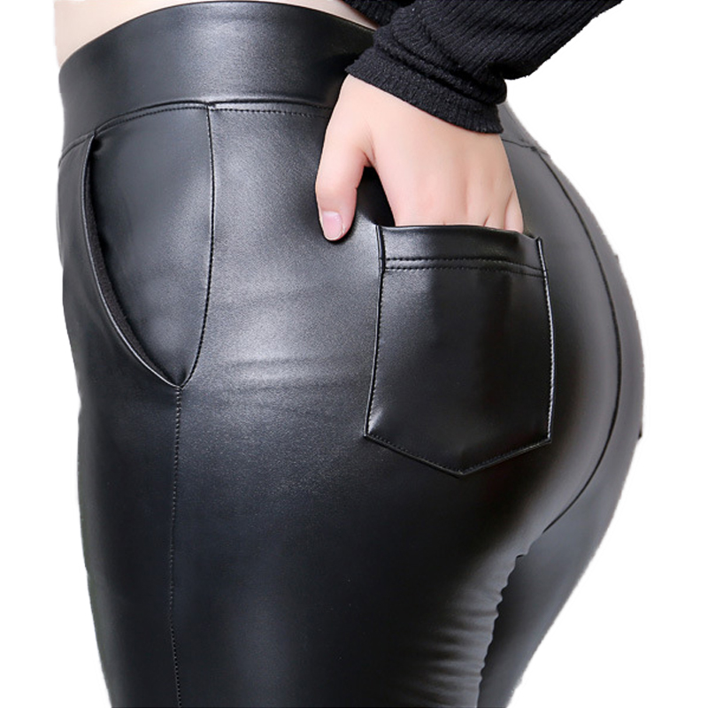 Winter Warm Women Pants PU Faux Leather With Pocket Trousers High Waist Skinny Women's Fashion Plus Size 5XL Tight