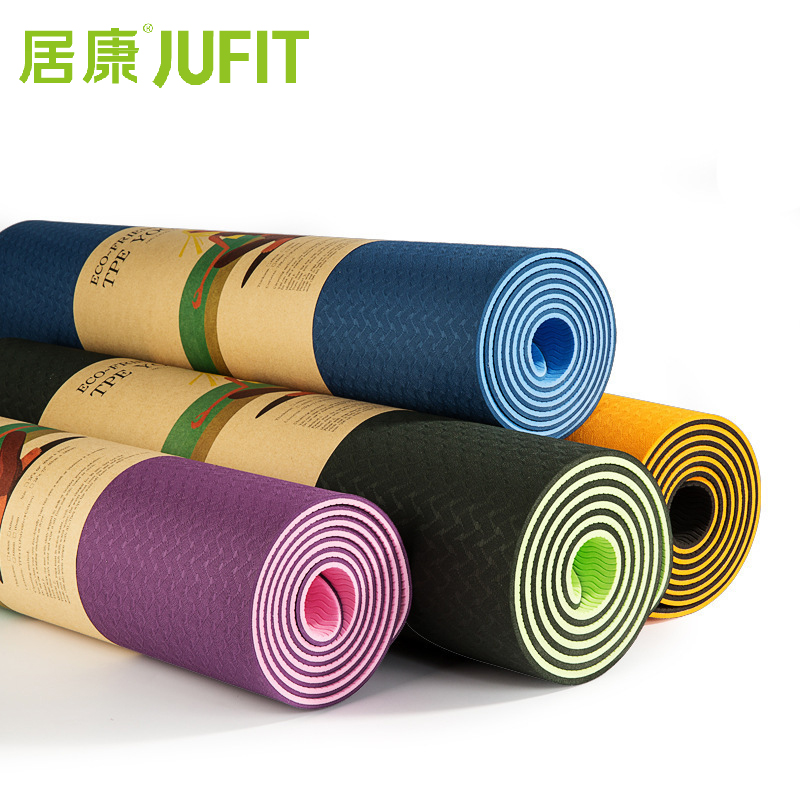 JUFIT 1830*610*6MM TPE Yoga Mat Double Sided Color Exercise Sports Mats For Fitness Gym Environmental Tasteless Pad With Rope мат для йоги nike fundamental yoga mat 3 mm n ye 02 571 os