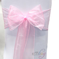 10PCS Organza Chair Sashes Bow Wedding Party Cover Banquet Cover Sashes 1 Pink