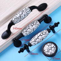 The Newest 2015 W Handles Modern Simple Black With Ceramic Cupboard Door Pulls Cabinet Wardrobe Knobs