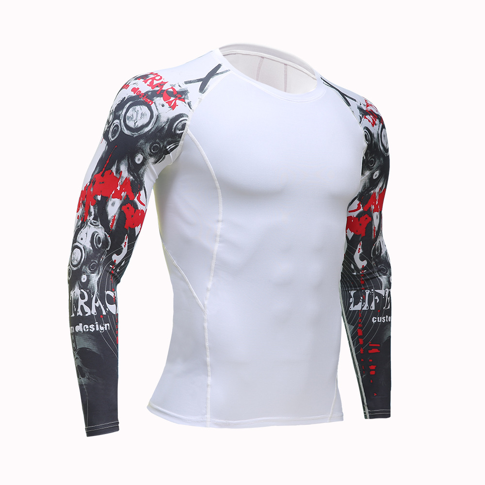 Men Compression Shirt Breathable Quick Dry T Shirt Bodybuilding Weight lifting Base Layer MMA Warrior Tops Fitness Tight T-shirt