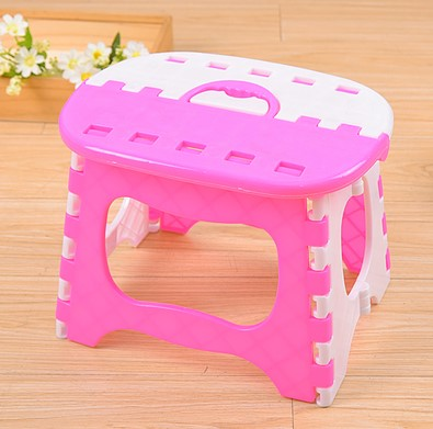 Bright Pink Folding Stool Plastic Light Pink Stools Children Step Ottoman Home Furniture For Kid Sitting Picnic Children Stools free shipping 2pcs waterproof gold detector gold hunter at propointer orange color