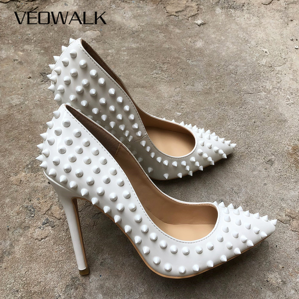 Veowalk White Spikes Women Pointed Toe Stilettos Sexy High Heels Rivets Ladies Slip-on Pumps Night Club Shoes 12/10/8cm OptionalVeowalk White Spikes Women Pointed Toe Stilettos Sexy High Heels Rivets Ladies Slip-on Pumps Night Club Shoes 12/10/8cm Optional